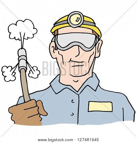An image of a plumber holding high pressure hose.