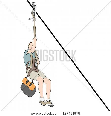 An image of a young skinny man riding on a zip line.