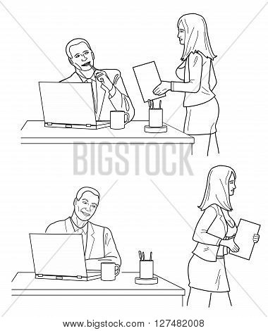 Man looking man looks at a woman in front and back in office. Black vector illustration isolated on white background.