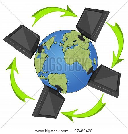 Network concept with monitors and arrowa flying around the earth on white background