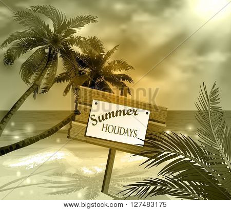 wooden signboard on idealistic tropical beach in monochrome colors