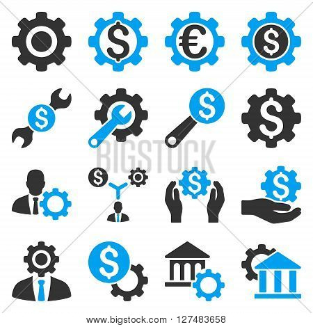 Financial tools and options icon set. Vector style is flat bicolor symbols, blue and gray colors, rounded angles, white background.
