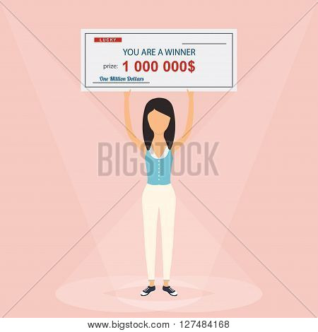 Happy Woman Holding Large Check Of One Million Dollar In Hands. Colorful Vector Illustration.