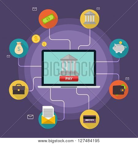 Banking Concept. Set Of Flat Icon Banking, Finance Operations, Payment, Credit Cards, Wallet And Cas