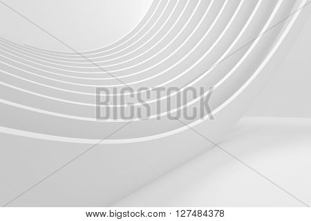 White Architecture Circular Background. Abstract Building Design. Modern Architecture. 3d Rendering