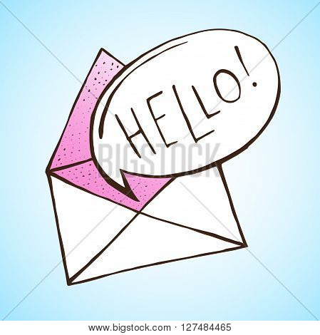 Opened letter with speech bubble. Hand drawn vector illustration. Concept of sms, spam, writing, postcard, salutation, chatting, mailbox, textual talking, checking email