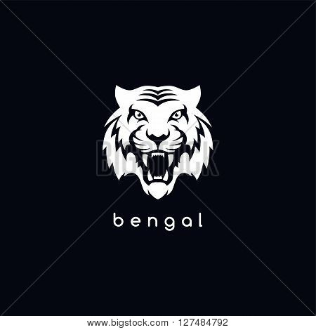 bengal white tiger logotype vector art illustration