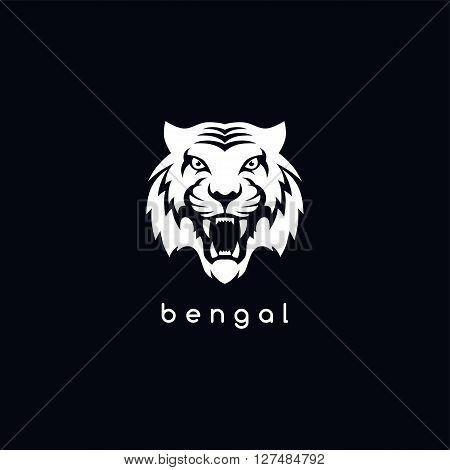 bengal white tiger logotype vector art illustration