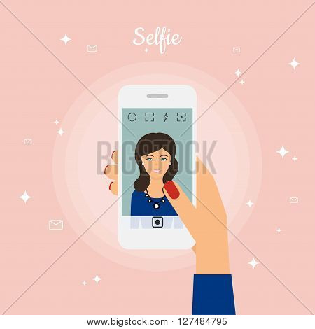 Woman Taking Selfie Photo on Smart Phone. Self portrait picture for smartphone. Selfie concept design element. Vector illustration.