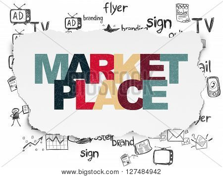 Marketing concept: Painted multicolor text Marketplace on Torn Paper background with  Hand Drawn Marketing Icons