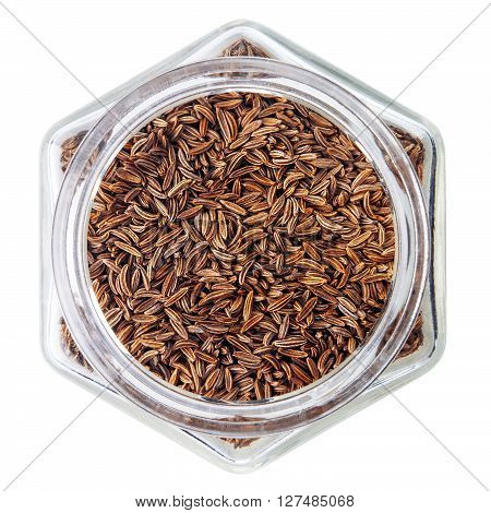 Cumin isolated on white background. Caraway seeds