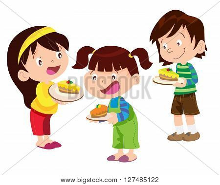 Vectoe of Children have a cake and will eat it