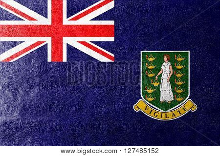 Flag Of British Virgin Islands, Painted On Leather Texture