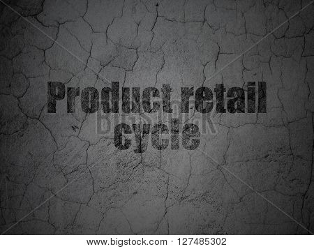 Advertising concept: Black Product retail Cycle on grunge textured concrete wall background