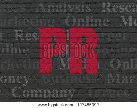 Marketing concept: Painted red text PR on Black Brick wall background with  Tag Cloud