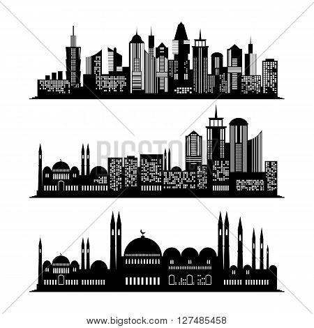 Set of skyscraper sketches. City design. Silhouette of the city isolated on white background. flat illustration. Business concept with skyscrapers. Building of middle east. Arabian architecture