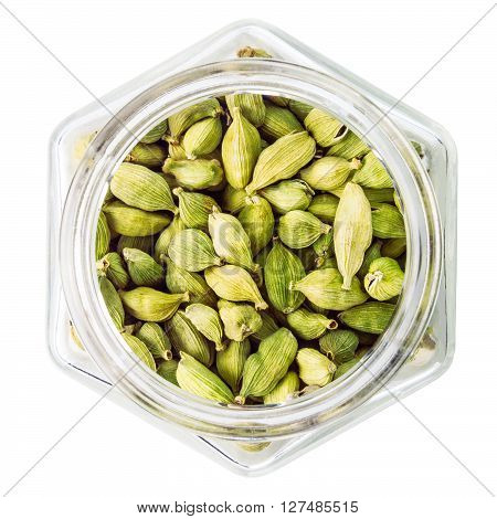 green cardamom pods isolated on white background
