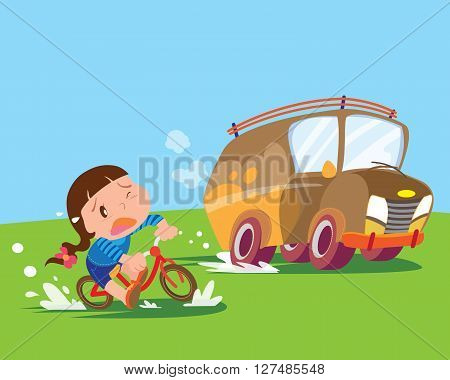 children girl ride a bicycle uptight the big car