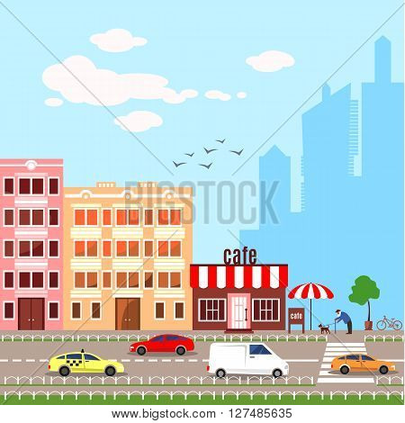 Flat design illustration icons set of urban landscape and city life. Modern skyscraper silhouettes on the background. Busy traffic. Cityscape pattern. Colorful buildings. Cute cars.