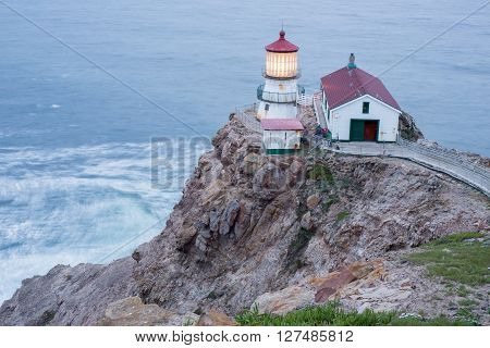 Point Reyes National Seashore, CA - APRIL, 23 2016: Point Reyes Lighthouse at Dusk, April 23, 2016, in Point Reyes National Seashore, California.