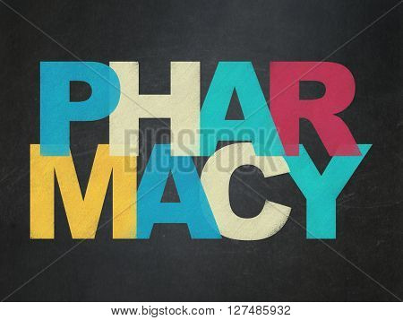 Health concept: Painted multicolor text Pharmacy on School board background, School Board