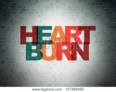 Healthcare concept: Painted multicolor text Heartburn on Digital Data Paper background