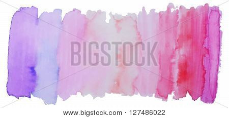Vector bright watercolor banner or header. Isolated element for design. Freehand colorful banner. Acrylic stamp.