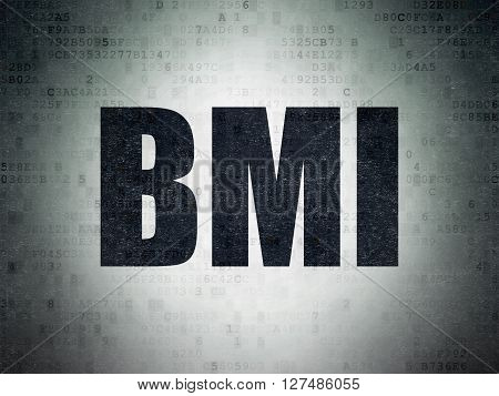 Healthcare concept: Painted black word BMI on Digital Data Paper background