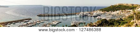 GOZO ISLAND, MALTESE ISLAND - NOVEMBER 5, 2015.Port of Mgarr on the small island of Gozo, Malta. Panorama view.