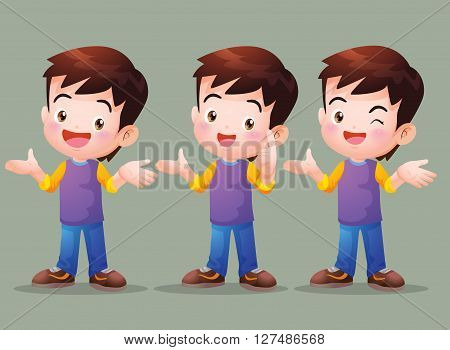 Vector of Cute boy have Answer in many actions.