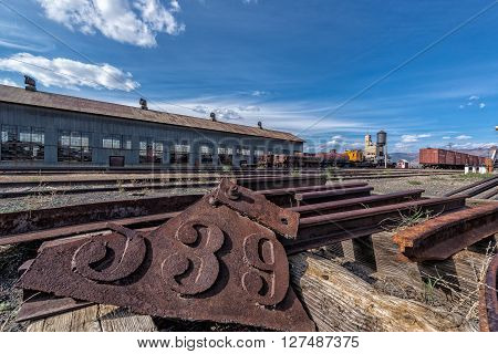 East Ely, Nevada,USA. 11th May 2015 Tracks at Nevada Northern Railway Museum