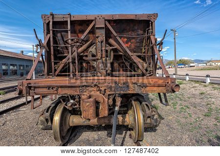 East Ely, Nevada,USA. 11th May 2015 Rollingstock bogey at Nevada Northern Railway Museum
