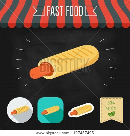 French Hot Dog icon on a chalkboard. Set of icons and eco label. Flat design. Vector illustration