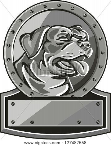Metallic style illustration of a Rottweiler Metzgerhund mastiff-dog guard dog head looking to the side set inside circle with screws done in retro style.
