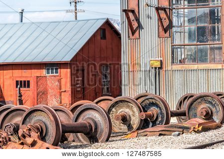 East Ely, Nevada,USA. 11th May 2015 Wheelsets at Nevada Northern Railway Museum