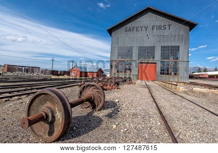 East Ely, Nevada,USA. 11th May 2015 wheetset and service shed at Nevada Northern Railway Museum, East Ely