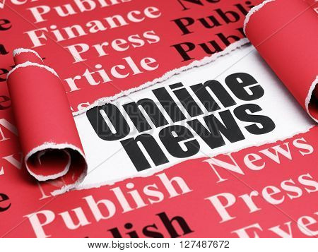 News concept: black text Online News under the curled piece of Red torn paper with  Tag Cloud, 3D rendering