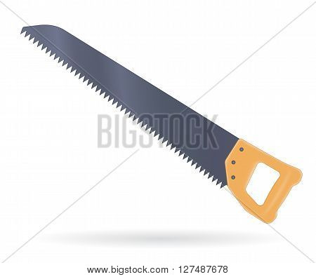 Saw with wooden handle, vector illustration isolated on white