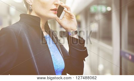 Businesswoman Lifestyle Using Mobile Phone Connection Concept, unfocused