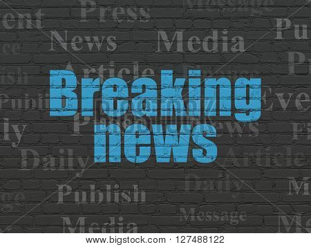 News concept: Painted blue text Breaking News on Black Brick wall background with  Tag Cloud