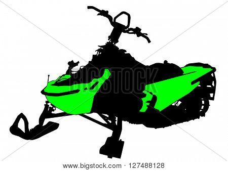 Sports snowmobile on a white background