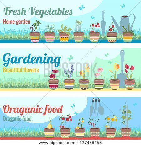 Gardening horizontal banners.