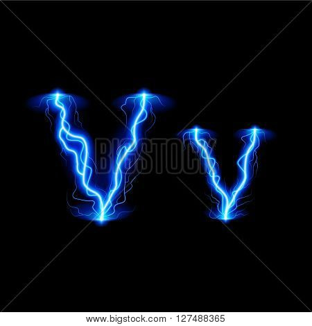 Uppercase and lowercase letters V in lighting style