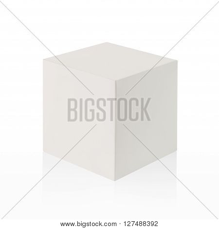 White Box (cube) On White Background