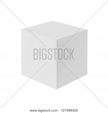 White box (cube) isolated on white background