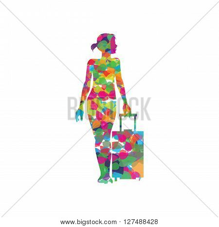 Abstract silhouette of girl with a suitcase
