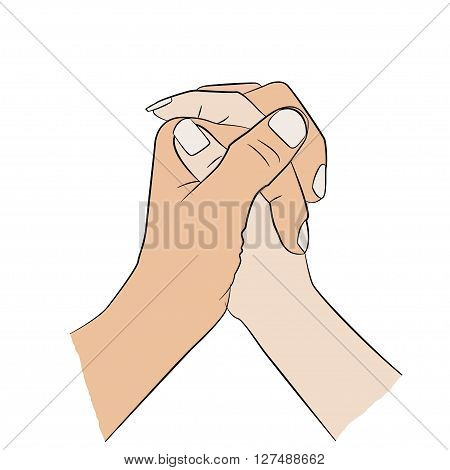 Man holding woman's hand. Relationship, communication icon