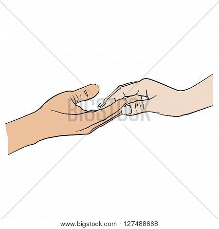 Man holding woman's hand.  Relationship. Communication icon.