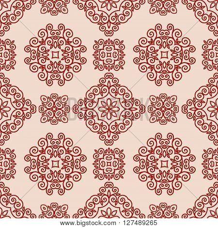 Ornamental decorative seamless lace pattern in mono line style