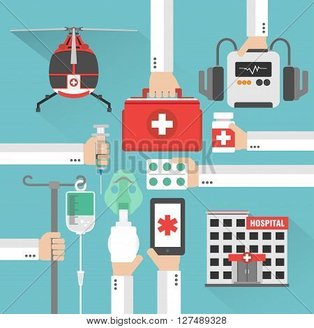 Medical helicopterhospital flat design card with hand .Vector illustration